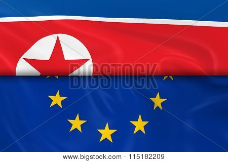 Flags Of North Korea And The European Union Split In Half - 3D Render Of The North Korean Flag And E