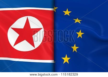 Flags Of North Korea And The European Union Split Down The Middle - 3D Render Of The North Korean Fl
