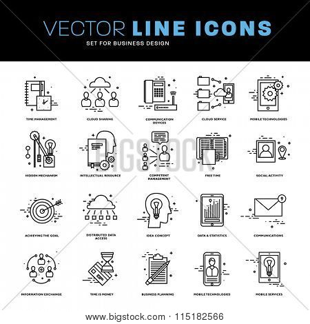 Thin Line Icons Set. Business Elements for Websites, Banners, Infographic Illustrations. Simple Linear Pictograms Collection. Logo Concepts Pack for Trendy Designs.