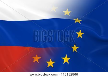 Russian And European Relations Concept Image - Flags Of Russia And The European Union Fading Togethe