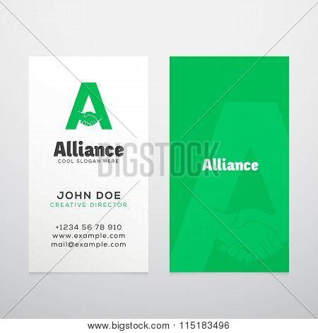 Alliance Abstract Vector Business Card Template or Mockup.