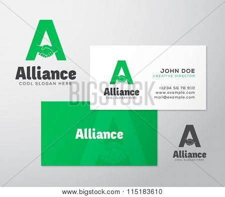 Alliance Abstract Vector Logo and Business Card Template or Mockup.