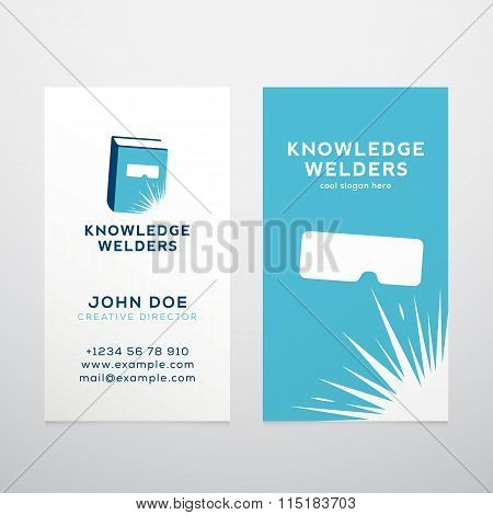 Knowledge Welders Education Abstract Vector Business Card Template or Mockup.
