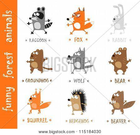 Funny Forest Animals - Bear, Wolf, Fox, Rabbit, Hedgehog, Groundhog, Raccoon, Beaver And Squirrel Ha