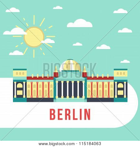 Flat vector Illustration Reichstag in Berlin, Germany