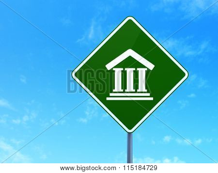 Law concept: Courthouse on road sign background