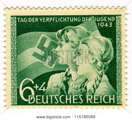 GOMEL,BELARUS - JANUARY 2016: A stamp printed in Germany shows image of the German youth, circa 1943.