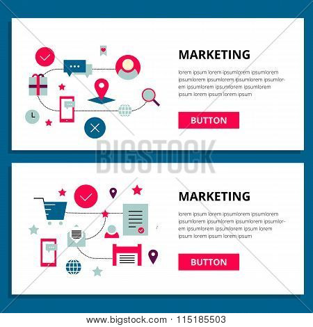 One page, banner web design template for marketing