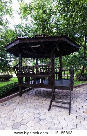 Thai Wood Pavilion In Park