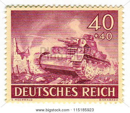 GOMEL,BELARUS - JANUARY 2016: A stamp printed in Germany shows image of the German tank, circa 1942.