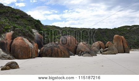 Great Southern Ocean Coast: Orange Granite Rocks