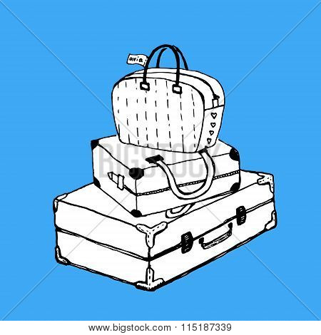 Suitcases and bag with luggage tag