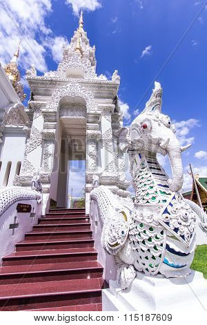 White Naga Fution Elephant  Staircase In Thai Temple