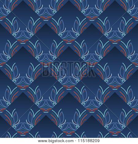 Blue Vintage Seamless Wallpaper