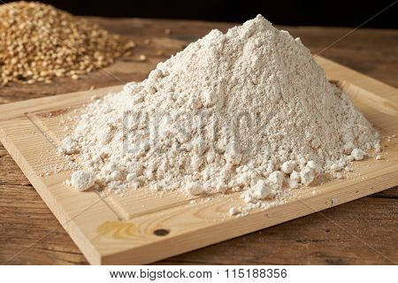 Flour With Wheat On A  Kitchen Bench