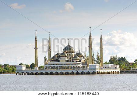 Beautiful Crystal Mosque With Blue Sky And Clouds At Terengganu, Malaysia