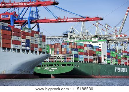 Container Ship At The Port Of Hamburg (hamburger Hafen),germany.