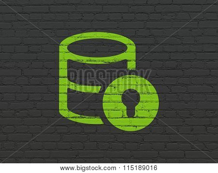 Programming concept: Database With Lock on wall background