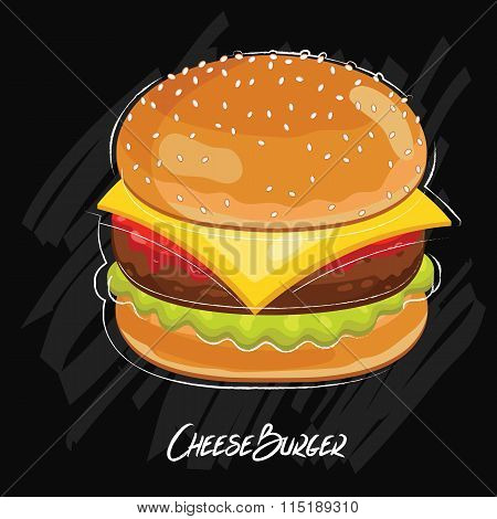 Cheeseburger isolated on chalkboard. Classic fastfood. Illustration in vintage style. Vector burger.  Cartoon cheeseburger illustration.