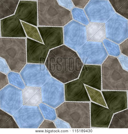 Seamless texture of glass tiles. Kaleidoscopic tiles.