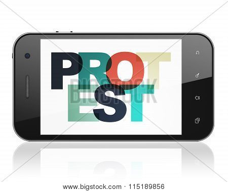Politics concept: Smartphone with Protest on  display