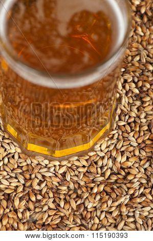 beer glass at malt grains