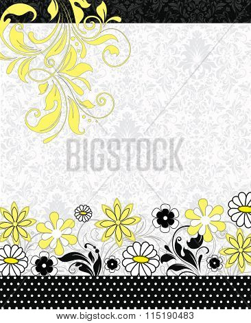 Vintage invitation card with ornate elegant retro abstract floral design, white and yellow flowers and leaves on faded gray and white background with black borders. Vector illustration.