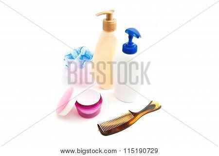 Shower Gel, Cream, Wisp And Hairbrush