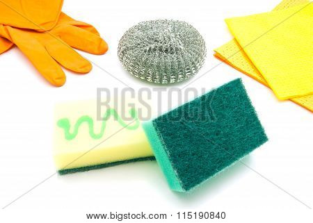 Sponges, Rags And Gloves On White