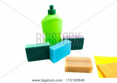 Bottle, Soap, Rags And Sponges