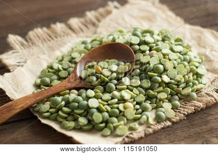 Dried  Green Split Peas With A Spoon