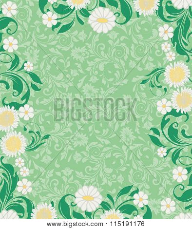 Vintage invitation card with ornate elegant retro abstract floral design, white and yellow flowers and green leaves on light green background with text label. Vector illustration.