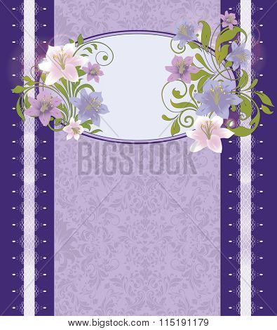 Vintage invitation card with ornate elegant retro abstract floral design, pink violet and purple flowers and green leaves on blue violet background with border and text label. Vector illustration.