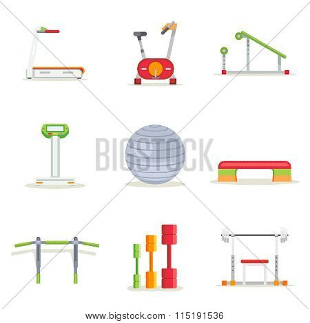 Fitness gym exercise equipment for workout in flat style. Vector icons set
