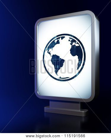 Studying concept: Globe on billboard background