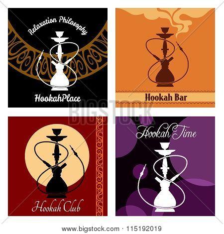 Hookah vector bar menu poster set