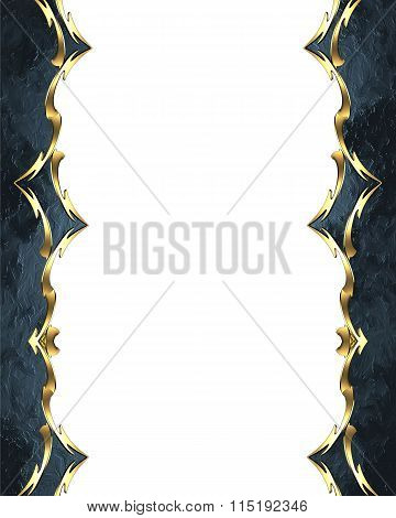Beautiful Blue Frame With Gold Ornaments. Element For Design. Template For Design. Copy Space For Ad