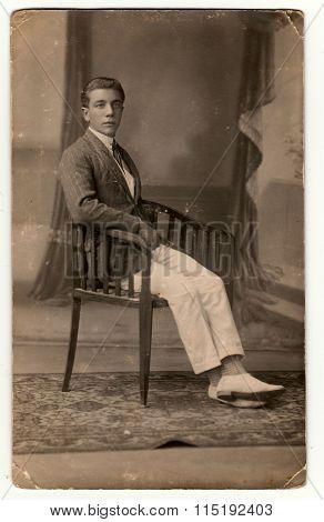 A young man - vintage studio photo circa 1930.