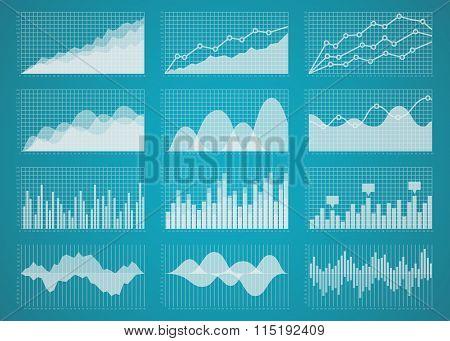Graphs and charts vector set