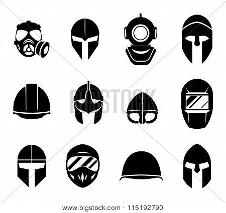 Helmets and masks vector icons