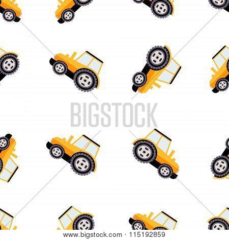 Work Trucks Seamless Pattern. Flat Vector Illustration