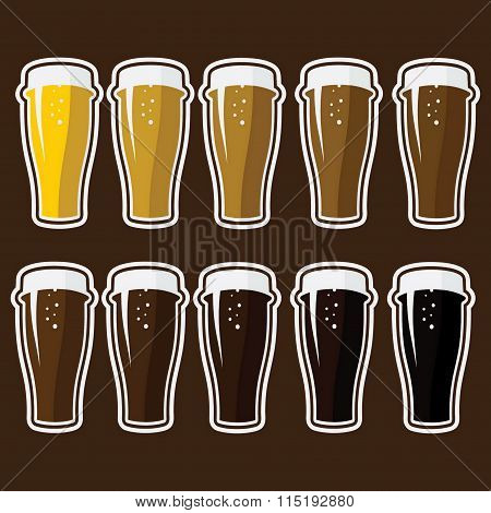 Set Of Glasses With Different Varieties Of Beer