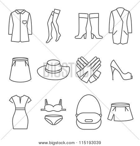 Female clothes vector line icons set