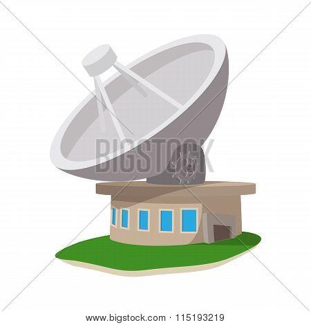 Satellite communication station cartoon icon