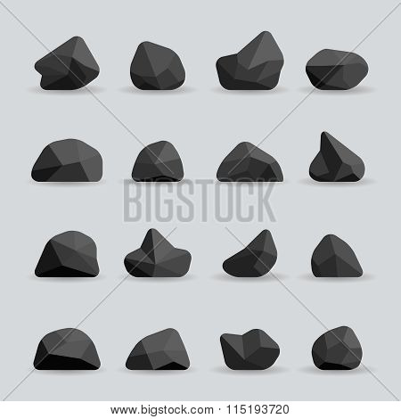 Black stones in flat style vector