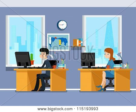 Employees, creative team working in the office, flat style illustration