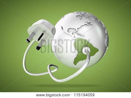Electric power cable and plug point connect to a brightly colored South America on a world globe