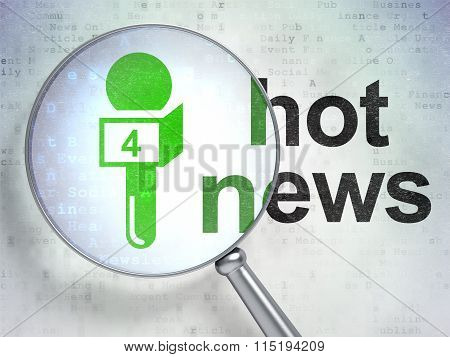 News concept: Microphone and Hot News with optical glass