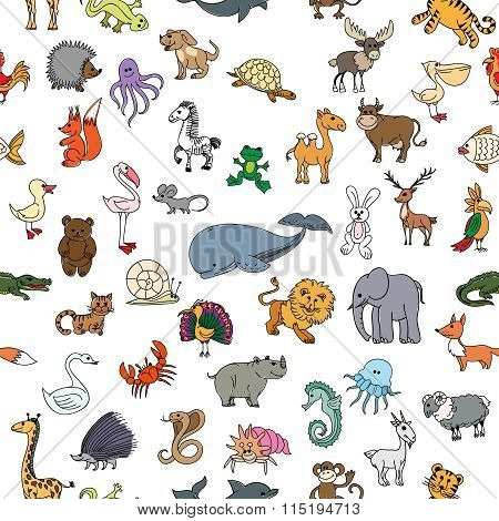 Childrens drawings doodle animals seamless pattern