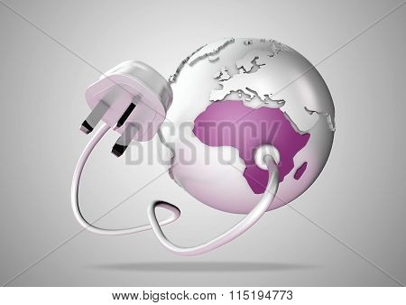 Electric power cable and plug point connect to a brightly colored country Africa on a world globe